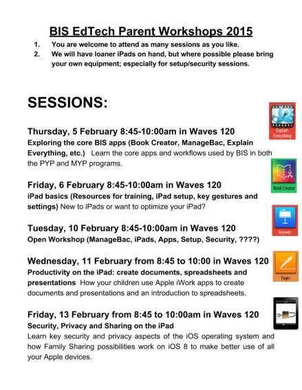 2015 BIS Parent Ed-Tech Workshops